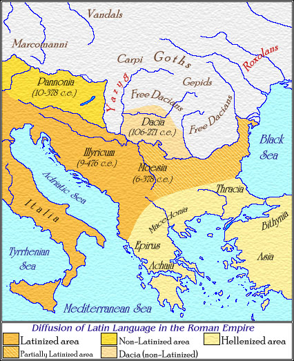 Myths The Vlach People - Latin language map